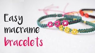 DIY How To Make Macrame Bracelets With Little Flowers