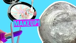 MIXING MAKEUP INTO CLEAR SLIME!! Satisfying Makeup Slime Mixing! - Video Youtube