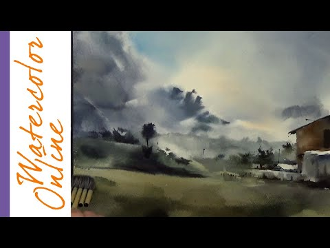 Thursday Speed Up Demos: A Cloudy Valley (Watercolor Landscape)