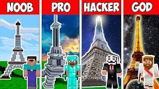 Minecraft NOOB Vs PRO Vs HACKER VS GOD : 130 YEARS EIFFEL TOWER In Minecraft - Animation