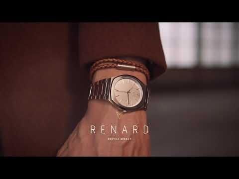 Renard Gevlochten leren dubbele armband bruin