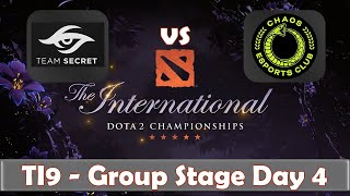 Secret vs Chaos | The International 2019 | Dota 2 TI9 LIVE | Group Stage Day 4