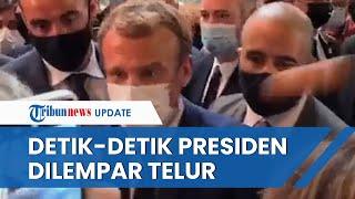 Video Detik-detik Presiden Prancis Emmanuel Macron Dilempari Telur, Pelaku Diamankan Petugas
