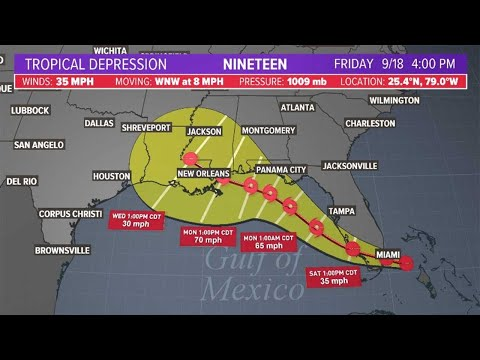 Tropical Depression 19 forms off southeast Florida; could become Tropical Storm Sally