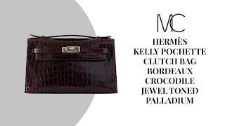 b5981409784e MIGHTYCHIC •HERMÈS Kelly Pochette Clutch Bag Bordeaux Crocodile Jewel Toned  Palladium