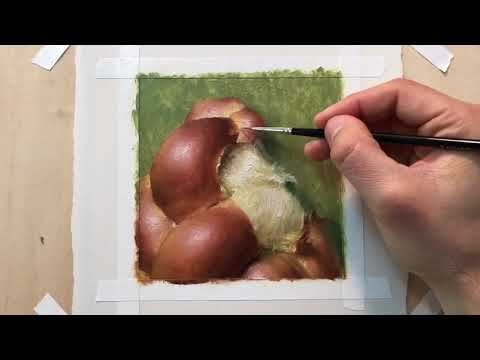 Fast-motion painting demo by me. Bread is so fun to paint!