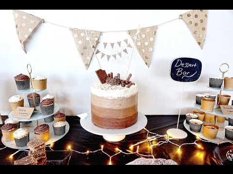 Video Pinterest Style Dessert Bar for Husbands Birthday - DIY Cake Topper & Bunting