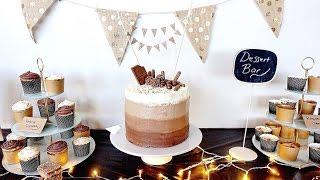 Pinterest Style Dessert Bar For Husbands Birthday - DIY Cake Topper & Bunting