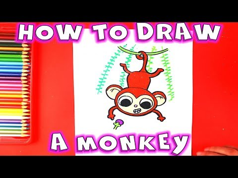 How to Draw a Monkey Hanging from a Tree