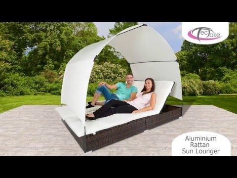 tectake - Aluminium Rattan Sun Lounger