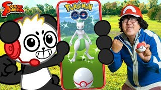 RYAN'S DADDY CHALLENGES COMBO PANDA TO POKEMON GO IN REAL LIFE! Who can catch SHINY MEWTWO first?