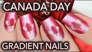 Canada day nail art - Red, white & holo! thumbnail