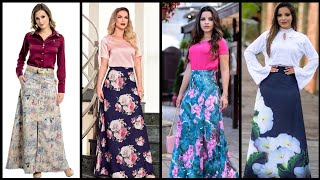 Top Classy Stylish And Trendy Designer Floral Print Maxi Skirts Outfits Ideas