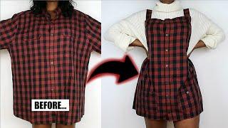 DIY Overall Dress From An Oversized Mens Shirt | Mens Shirt Refashion