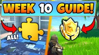 Fortnite WEEK 10 CHALLENGES GUIDE! – PUZZLE PIECES Locations, Treasure MAP (Battle Royale Season 5)