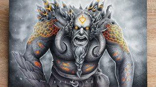 Drawing Troll Timelapse - Nordic Mythology Art