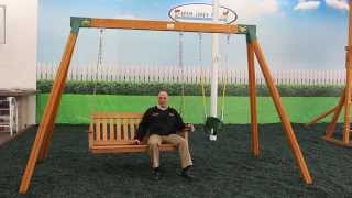 Cedar Wooden Bench Swing Set