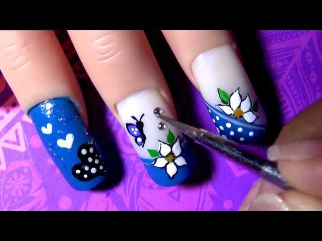 Video Decorado De Uñas Azul Blue Decoration Nail Tutorial Yana