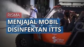 Risma Menjajal Mobil Penyemprot Disinfektan Hasil Modifikasi ITTS