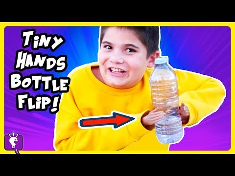 WATER BOTTLE FLIP with TINY HANDS CHALLENGE by HobbyKidsTV