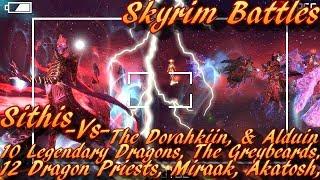 Skyrim Battles - Sithis vs 12 Dragon Priests Akatosh Miraak Dovahkiin Greybeards Alduin 10 L Dragons