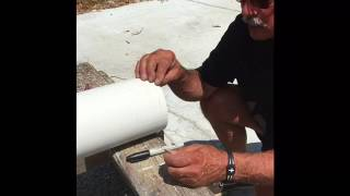Cutting the PVC pipe for The GUTTER THING