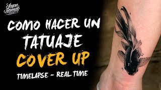 🐟 CÓMO Hacer Un Tatuaje COVER UP // Aguja De Línea 3RL // Black&Grey // TATUANDO Pez Betta Realista