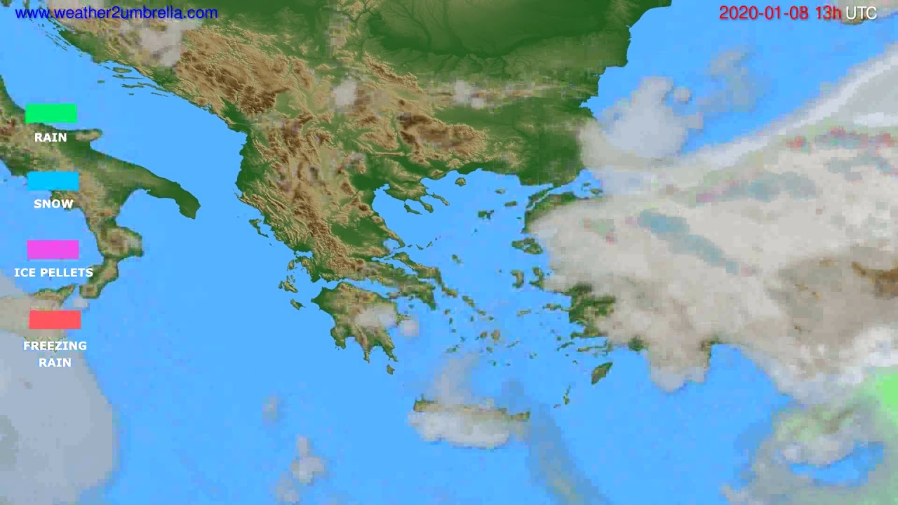 Precipitation forecast Greece // modelrun: 12h UTC 2020-01-07
