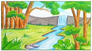 How To Draw  Scenery Of Rainforest  Step By Step