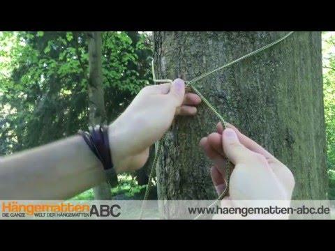 Hängematte aufhängen mit Seilen und Knoten