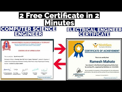 2 Free Certificate in 2 Minutes | Computer Science Engineering