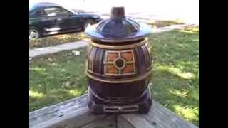 Vintage Cookie Jar Pot Belly Stove Marked USA 0236