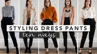 10 Different Ways to Style Black Dress Pants, Simple & Minimal Outfit Ideas | by Erin Elizabeth