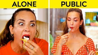 GIRLS IN PUBLIC VS GIRLS ALONE || How You Do Things Alone VS In Public! by 123 GO!