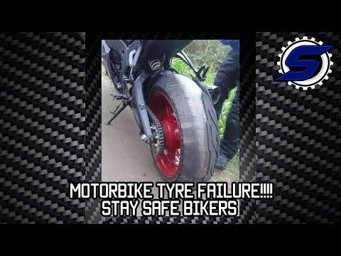 Motorbike tyre failure