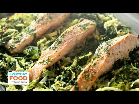 Baked Salmon with Kale and Cabbage – Everyday Food with Sarah Carey