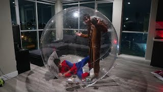 24 HOUR OVERNIGHT IN GIANT BUBBLE BALL! (INTENSE)