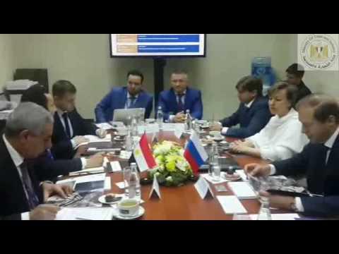 الوزير/طارق قابيل خلال جلسة المباحثات مع وزير الصناعة والتجارة الروسى على هامش منتدى سان بطرسبرج