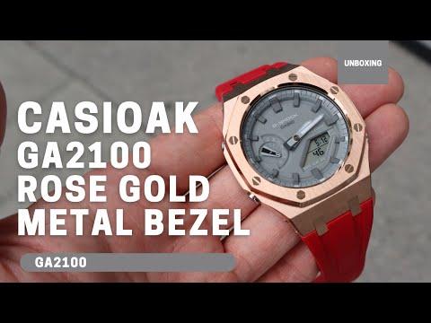CasiOak GA2100 Rose Gold Metal Bezel Fluorine Red Rubber Watch Strap Length for Casio G-Shock GA-2100/2110