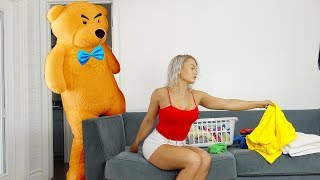 TEDDY BEAR COMES TO LIFE PRANK ON GIRLFRIEND.. (cute reaction)