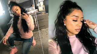 HALF UP - HALF DOWN HAIRSTYLE + HOW I FILL IN HAIR LINE & SLAY MY EDGES 2020