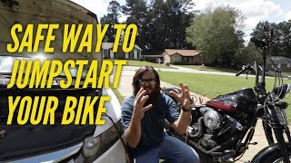 Jumpstart a Motorcycle with a Car