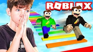 1v1 RAINBOW OBBY RACE with MY LITTLE BROTHER! (Roblox)