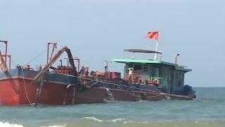 Quảng Nam phát hiện tàu chở trộm cát từ Cửa Đại san lấp mặt bằng tại Đà Nẵng