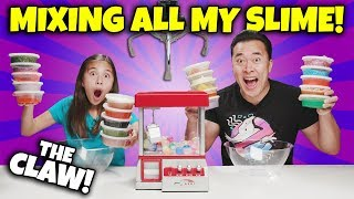 MIXING ALL MY SLIME WITH THE CLAW MACHINE!!! Switch Up Challenge!