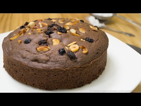 Video Pressure Cooker Eggless Chocolate Nuts Cake Recipe | Eggless Baking Without Oven