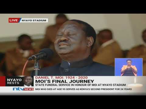 Crowd cheers Raila as he talks about forgiving Moi || #MoiMemorialService