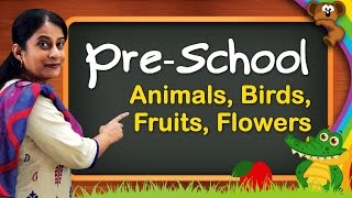 Pre School Learning For Kids | Animals, Birds, Animal Sounds, Fruits, Flowers, Vegetables - Download this Video in MP3, M4A, WEBM, MP4, 3GP