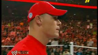 JOHN CENA's red shirt RAW debut and address to THE ROCK!-HD