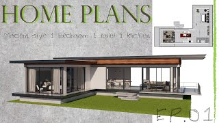 Home Plans EP.01 Modern Style 1 Bedroom 1 Toilet 1 Kitchen